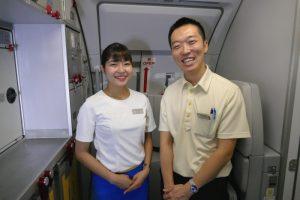 JW102便に乗務したバニラエアの客室乗務員