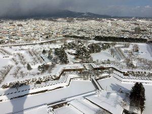 五稜郭タワーの展望台から見る五稜郭。桜の名所としても知られる