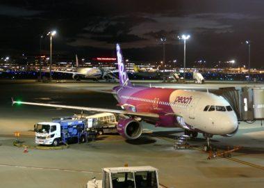 上海浦東空港から羽田空港に到着したLCCピーチ・アビエーションの機体