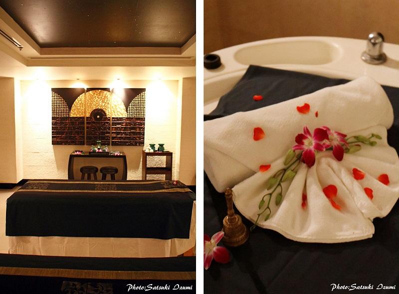 (写真左)アジアの伝統美を散りばめたトリートメントルーム。2ベット常設されカップルや友人と一緒の施術も可能。 (写真右)レインミストも各部屋に設置されている