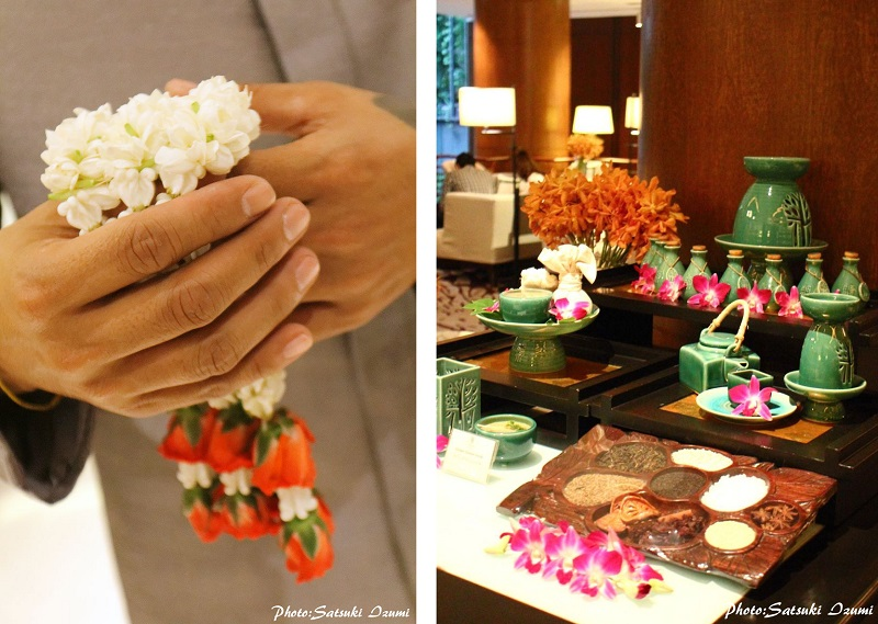 (写真左)ジャスミンの香りが麗しいハンドガレン (写真右)ロビーにはスパで使用されるタイの自然素材、アロマオイルなどを展示