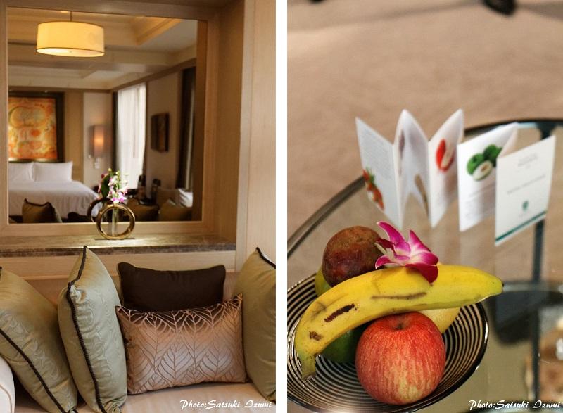 (写真左)2015年春に全50室の改装を終えたセレニティ・クラブの客室 (写真右)季節の果実を盛り合わせたウェルカムフルーツ。滞在中も欠かさず客室に届けられる