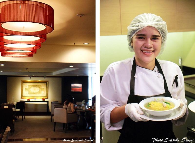 (写真左)クラブラウンジはコンシェルジュや飲食の場だけでなくビジネスセンターとしても使える多目的スペース (写真右)屋台で人気のタイの麺料理も朝から出来立てを味わえる
