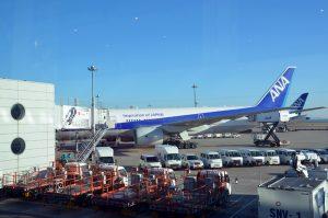 初日の出フライトを終えて8時頃に羽田空港に戻ってきたボーイング777-200ER型機