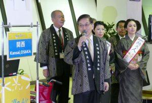関西行きの初便就航のあいさつをするバニラエア石井知祥代表取締役会長