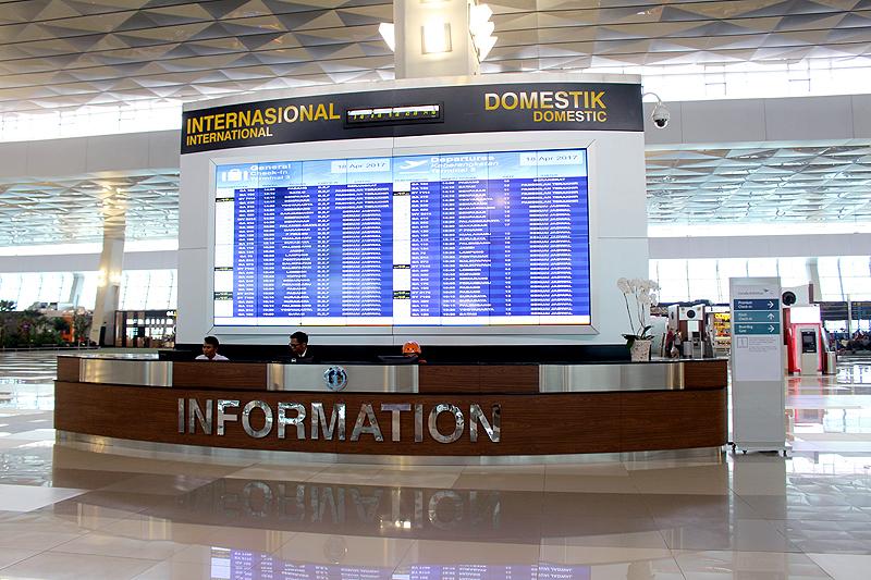 ジャカルタ空港ターミナル3のインフォメーションボード(提供:ガルーダ・インドネシア航空)