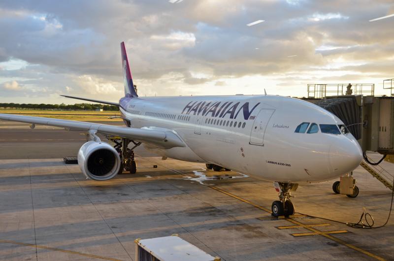 ハワイアン航空のエアバスA330-200。成田空港では今後第2ターミナルに移転する