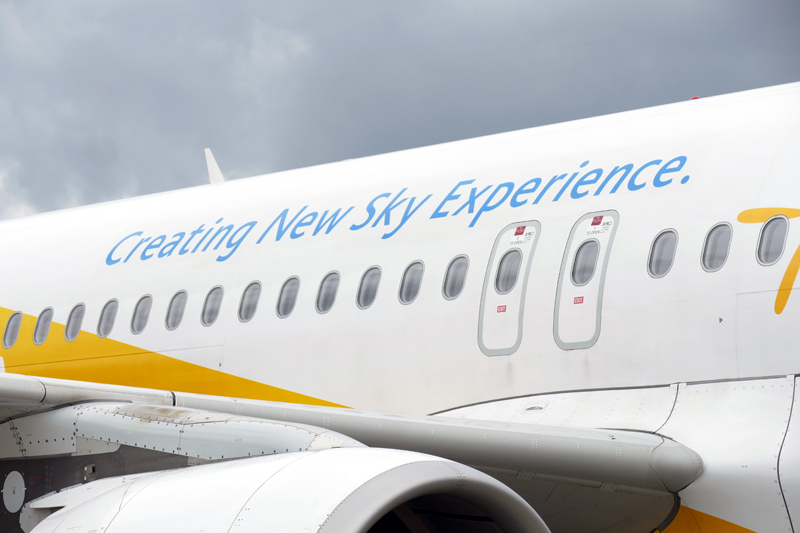 機体に描かれた「Creating New Sky Experience」