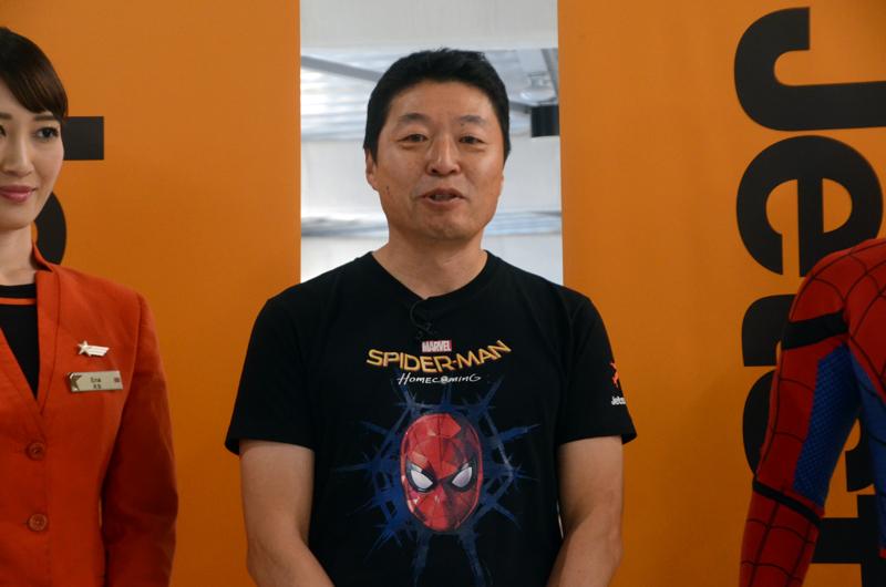 挨拶するジェットスター・ジャパンの片岡優代表取締役会長