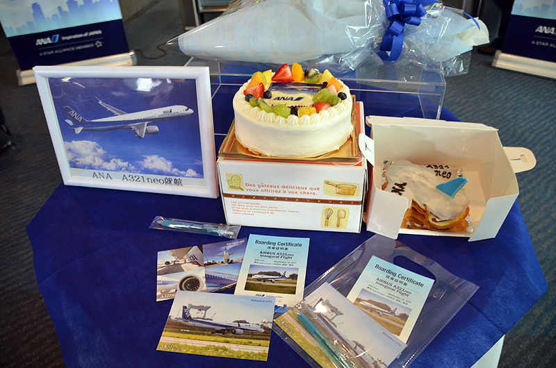 ANAファンからケーキのプレゼントがあった