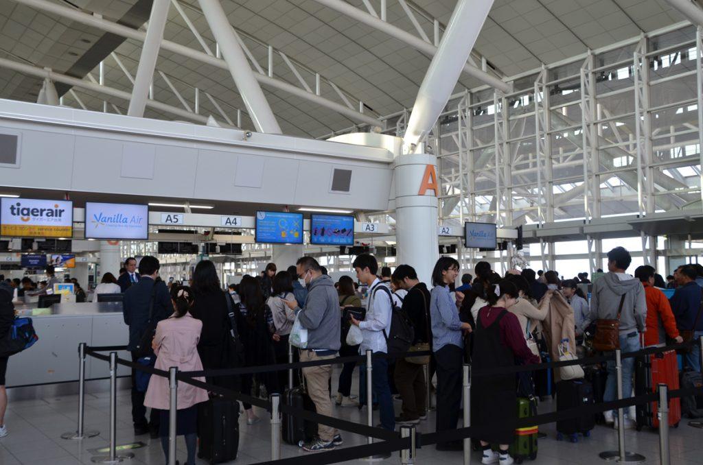 福岡空港のバニラエアチェックインカウンター