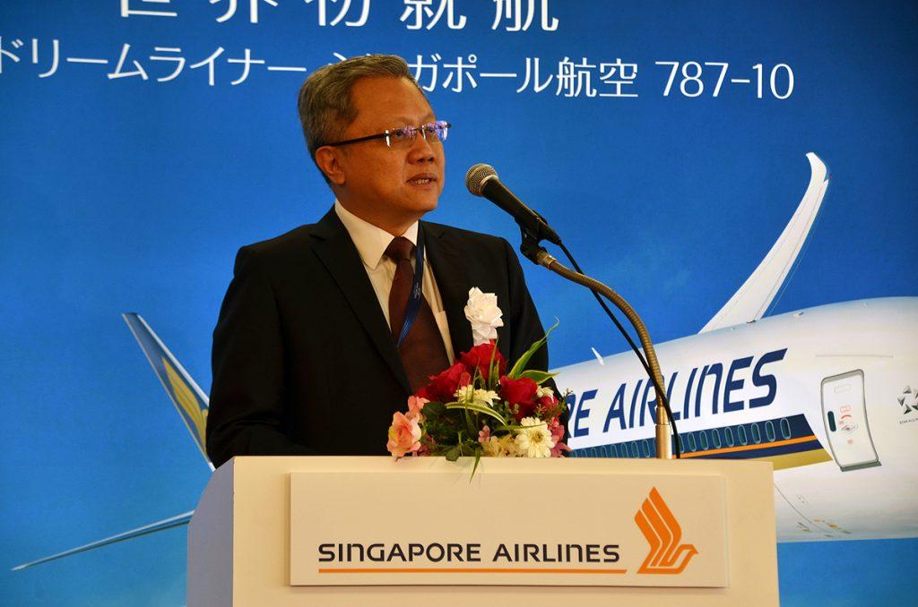 シンガポール航空のコマーシャル担当マック・スィー・ワー副社長が挨拶