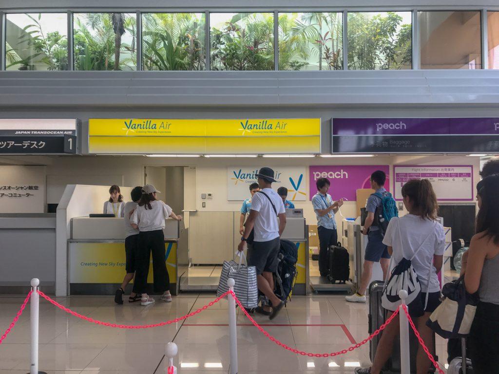 石垣空港のバニラエアチェックインカウンター