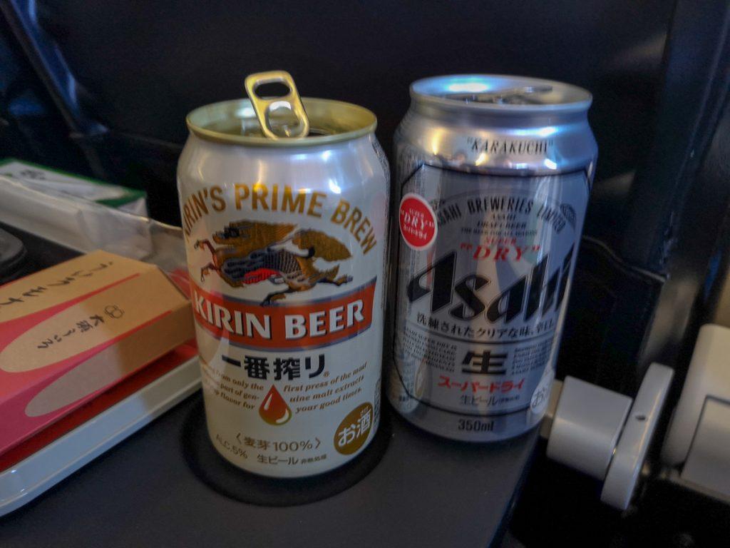 ビールもアサヒスーパードライとキリン一番搾りから選べる