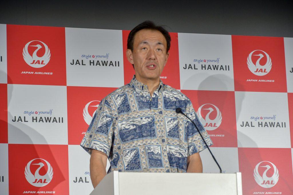 JALの国際路線事業本部長の大貫哲也常務執行役員