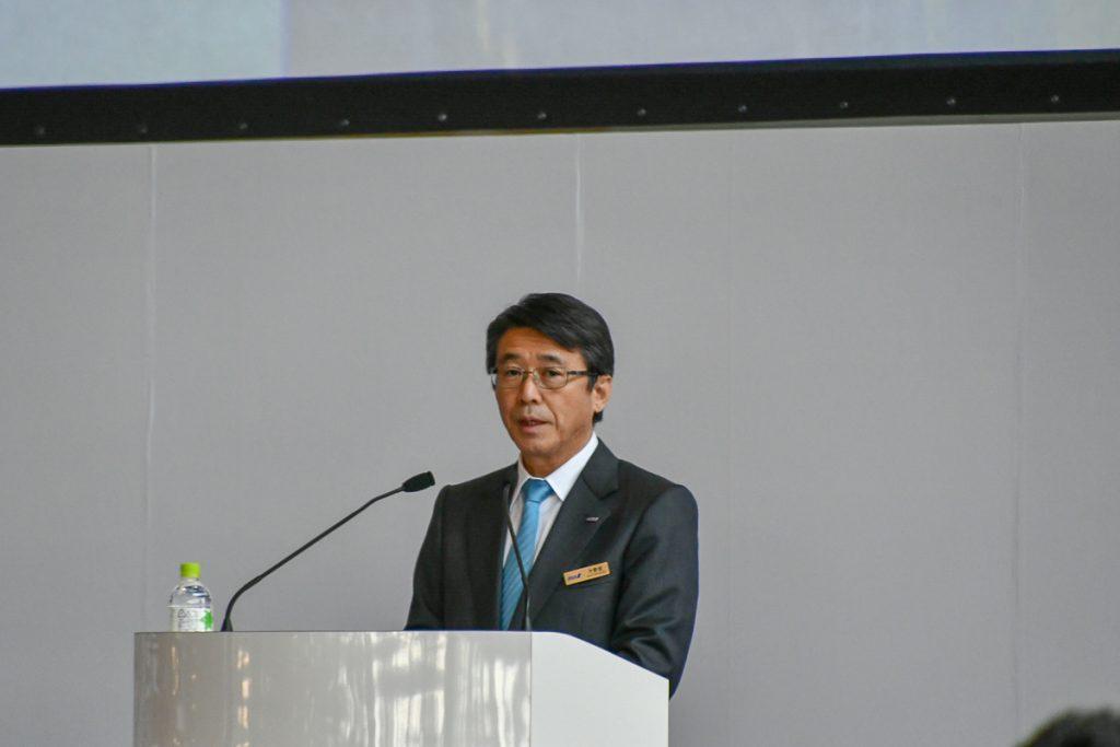 挨拶したANAホールディングスの片野坂真哉代表取締役社長