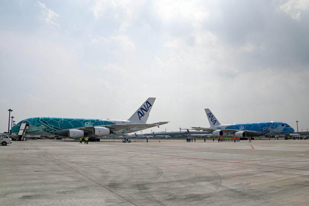この日は隣のスポットに「FLYING HONU」2号機も駐機し、2機並んだ。