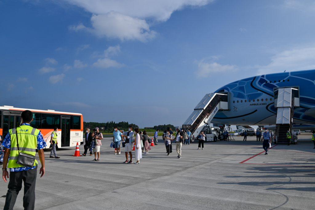 遊覧フライトを終えて成田空港に到着